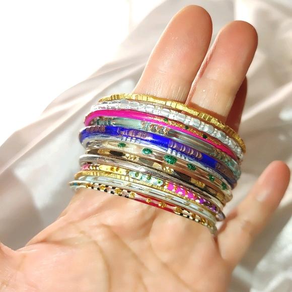 13 girls colorful acrylic metal plastic bangles